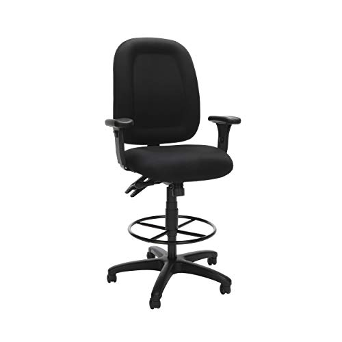 (OFM Core Collection Ergonomic Task Chair with Arms and Drafting Kit, Mid Back, in Black (125-DK-805))