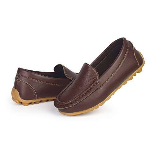 Flat Brown Sport Shoe (BENHERO Kids Boys Girls Loafers Slip on Soft Synthetic Leather Boat Dress Shoes Flat(5 M US Toddler,A-Brown))