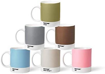 Pantone BecherSet2 Juego de 6 Tazas (Porcelana, 375 ml, con asa, Apto para lavavajillas, Pastel y Metal), Color café