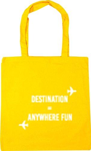 Bag Yellow 42cm Gym Tote x38cm litres Destination Beach Fun HippoWarehouse Anywhere Shopping 10 xAqwR0x47