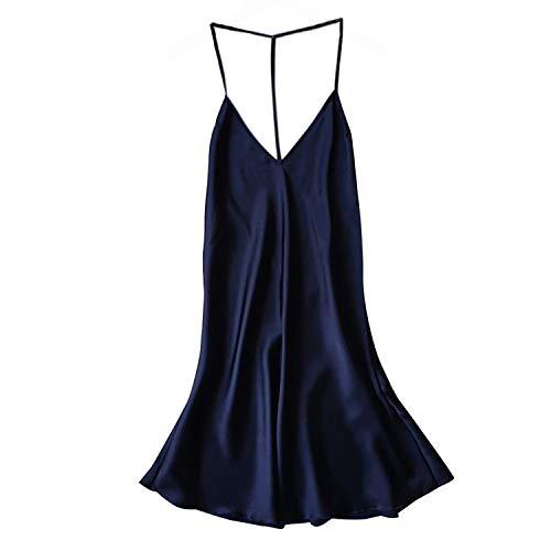 Zcxss Fashion Womens Satin Sleepwear Babydoll Lingerie Nightdress Solid Plus Size Dress Blue M
