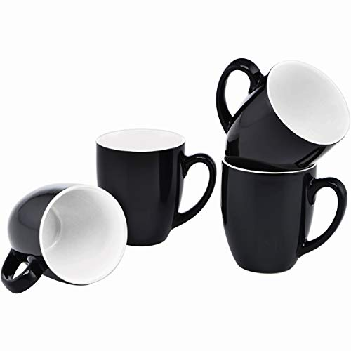 Culver 16-Ounce Bistro Ceramic Mug, Black, Set of -