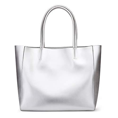 Anynow Luxurious Women's Genuine Leather Handbag Fashion Cowhide Shoulder Bag Ladies Tote Bag (Silver)