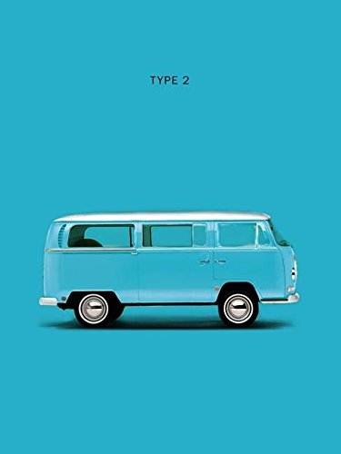 Imagekind Wall Art Print Entitled VW Type 2 in Sky Blue by Mark Rogan | 16 x 21