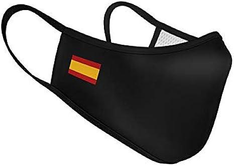 Mascarilla de Tela Homologada Reutilizable Bandera de España Sencilla - Negra