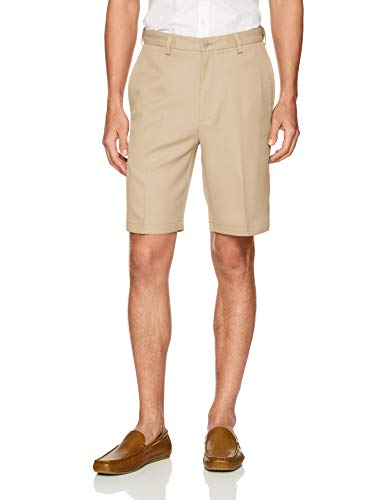 (Haggar Men's Cool 18 PRO Straight Fit Stretch Solid Flat Front Short, tan, 36 )