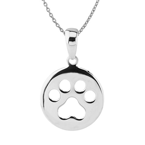 Sterling Silver Dog Pendant - Sterling Silver Small Circle Dog Paw Print Pendant Necklace, 18