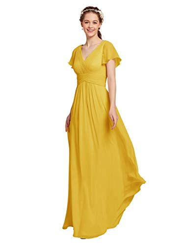 AW Chiffon Bridesmaid Dress with Sleeves V-Neck Wedding Maxi Evening Party Dress Long Prom Gowns, Mustard Yellow, - Gown Sleeve