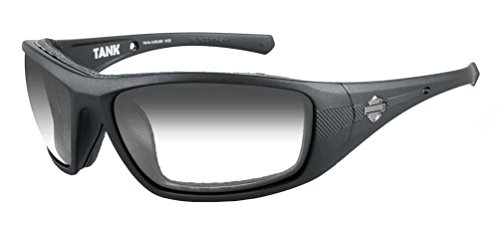 Harley-Davidson HD Tank LA Light Adjust Smoke Grey Lens in a Matte Black Frame - X Davidson Sunglasses Wiley Harley