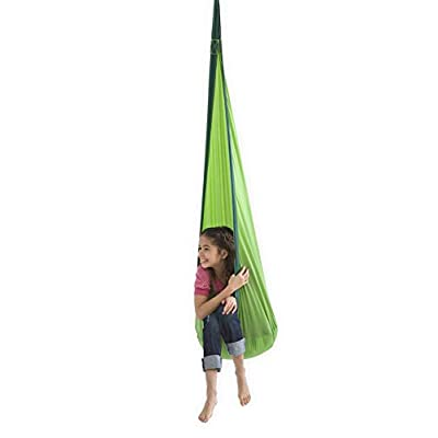 HugglePod Lite Indoor Outdoor Hanging Hammock Chair, Durable Lightweight Nylon with Reinforced Hanging Strap, Max Weight 175 LBS, 64 H x 24 W - Green: Toys & Games