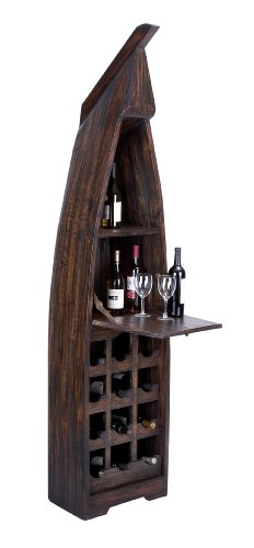 Benzara Extravagant Wooden Boat Wine Cabinet with Multiple Sections