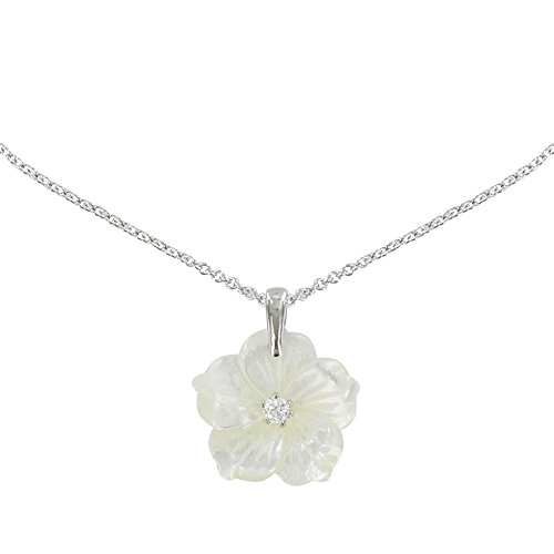 Les Poulettes Jewels - Silver Pendant Necklace Mother of Pearl Flower - size 45 cm Mother Of Pearl Flower
