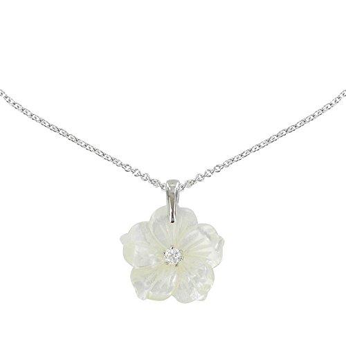 Les Poulettes Jewels - Silver Pendant Necklace Mother of Pearl Flower - size 40 cm