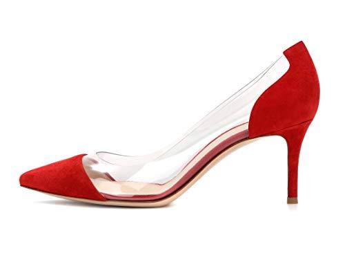 Edefs -escarpins Femmes - Kitten-heel Cour Pompes Transparent Pvc Chaussures Bout Pointu Bride Soirée Mariage Redsuede