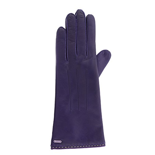 Coach Womens 83875 Plum Purple Leather Cashmere Gloves (6.5)
