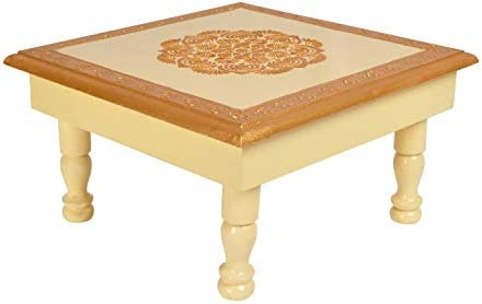 Lalhaveli Square Wooden End Table/Low Height Table/Small Table Home D cor Christmas Off-White