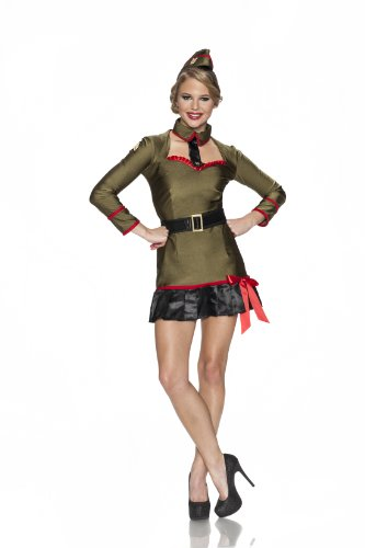 Playboy Corporal Cutie Costume, Multi, X-Small