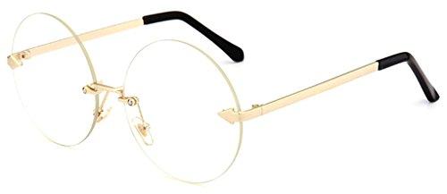 GAMT Oversized Arrow Rimless Round Sunglasses for Men and Women Frameless Eyeglasses Gold Frame Clear Lens