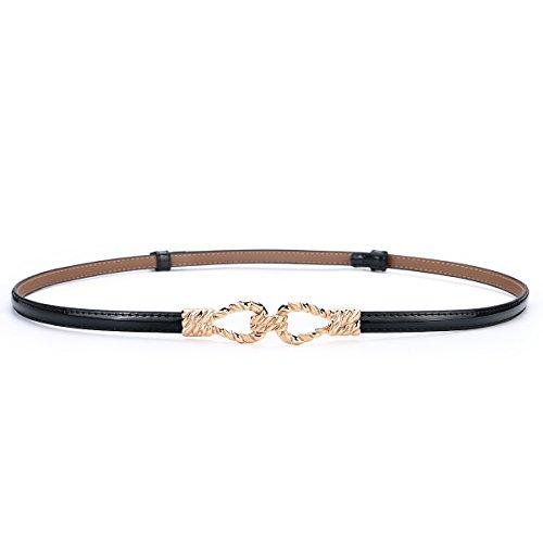 Women Skinny Belt for Dress, Genuine Leather Adjustable Thin Belt Enclosed in Gift ()