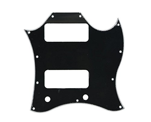 (KAISH Standard SG Special Full Face Guitar Pickguard with P90 Pickup Hole Black 3 Ply)