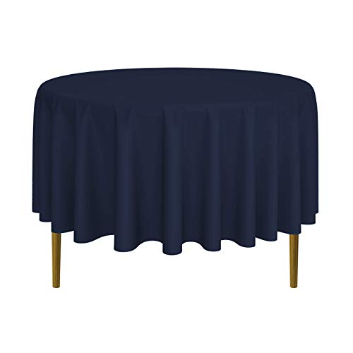 Lanns Linens - 90 Round Premium Tablecloth for Wedding/Banquet/Restaurant - Polyester Fabric Table Cloth - Navy Blue