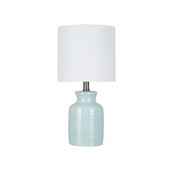 """Amazon Brand – Stone & Beam Textured Ceramic Table Lamp, Bulb Included, 16.75""""H, Blue - The base of this lovely lamp has a shape reminiscent of an old-fashioned milk can, but the reactive tonal-blue glaze is decidedly modern, creating a subtle pattern that will be slightly different on every lamp. The off-white linen drum shade diffuses light for a soft glow. 8.5""""W x 8.5""""D x 16.75""""H Textured ceramic table lamp with a tonal blue reactive glaze; brushed-nickel accents; off-white linen drum shade - lamps, bedroom-decor, bedroom - 31xejVuY2YL. SS570  -"""