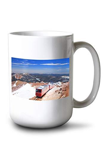 (Lantern Press Colorado Springs, Colorado - Pikes Peak Train - Photography A-92646 (15oz White Ceramic Mug))