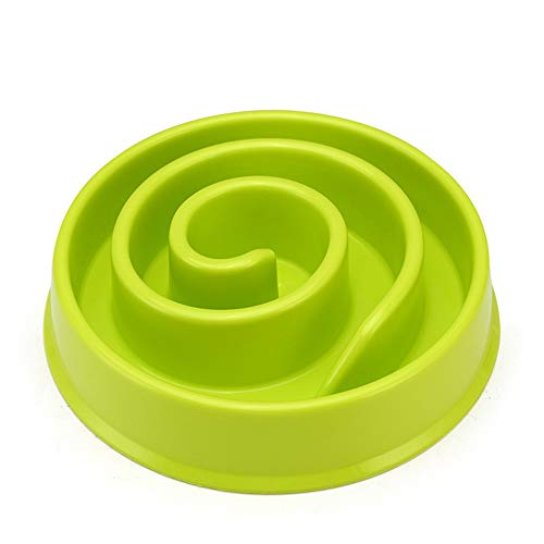 MXCZ Dog Bowl Slow Feeder -Fun Interactive Pet Food Dish, Bloat Stop Puppy Swirl Puzzle for Healthy Diet Eating Habit in Pink、Green and Blue Colors (Color : Green)