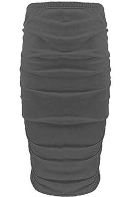Be Jealous Women's Plain Side Ruched Pencil Tube Soft Bodycon Midi Length Skirt