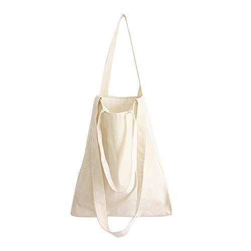 Natural Cotton Shoulder Bag (Caixia Women's DIY Plain Canvas Convertible Tote Crossbody Bag Beige (Open))