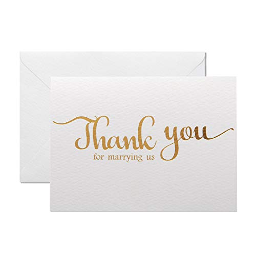 MAGJUCHE Thank You for Marring Us, Gold Foil Wedding Day Card to Your Officiant, Priest, Rabbi, Deacon Note Card to Go W/Gift ()