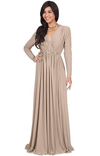 Winter Formal Dress (KOH KOH Plus Size Womens Long Sleeve Sleeves Kaftan V-Neck Flowy Formal Wedding Guest Fall Winter Evening Day Empire Waist Abaya Muslim Gown Gowns Maxi Dress Dresses, Tan Light Brown XL 14-16)