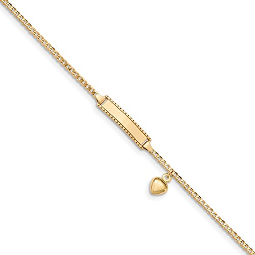 ICE CARATS 14k Yellow Gold Baby Id Link Curb Heart Dangle Bracelet 6 Inch Fine Jewelry Gift Set For Women Heart by ICE CARATS