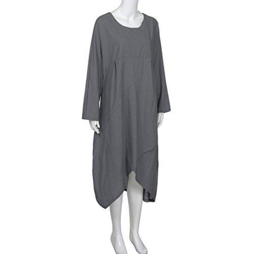 Maxi Baggy Sleeve Long Dress Gray Long Women FEITONG Tunic Size Plus Vintage qwnRUXxT