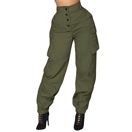 - JOFOW Womens Military Pants Solid Cargo Straight Leg Side Pocket High Waist Tunic Loose Long Casual Stylish Cool Trousers (L,Army Green)
