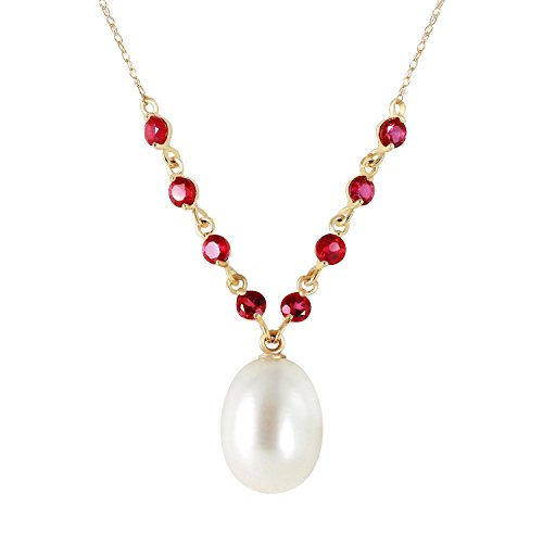 "Galaxy Gold 5 Carat 14k 18"" Solid Gold Necklace with Natural Rubies and Freshwater-cultured Pearl Pendant"