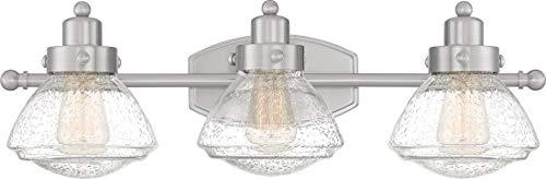 Quoizel SCH8603BN Scholar Glass Schoolhouse Vanity Wall Lighting, 3-Light, 300 Watts, Brushed Nickel (8