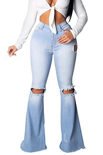 Baonmy Womens Classic Elegant Destroyed Flare Denim Bell Bottoms Jeans Pants (Light blue03, S)