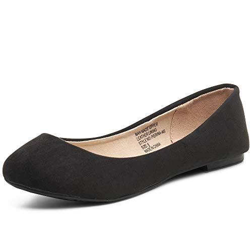 alpine swiss Womens Black Micro-Suede Pierina Ballet Flats 9 M US