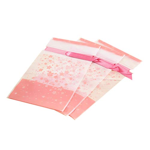 (20PCS Plastic Flat Cello Treat Bags Pink Candy Packaging Bags Blushing Cherry Blossom Food Drawstring Bags with Ribbons )
