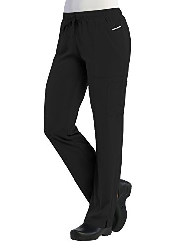 Maevn Women's PureSoft Relaxed-Fit Elastic Drawstrings Cargo Pant(Black, Large - Pants Back Elastic Scrub