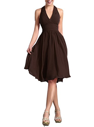Huafeiwude Women's Knee Length Halter Dress Bridesmaid Dresses Brown US 16