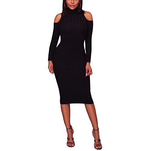Women's Sexy Turtleneck Cold Shoulder Bodycon Pencil Knitted Sweater Midi Dress Black XL
