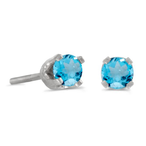- 14k White Gold Round Blue Topaz Screw-back Stud Earrings