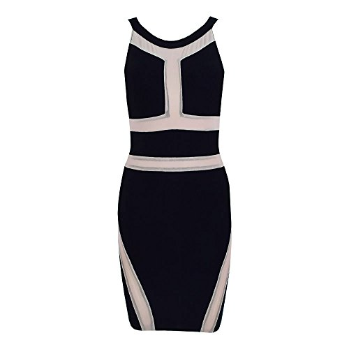 HLBandage Patchwork Mesh Sleeveless Haler Mini Bandage Dress Negro