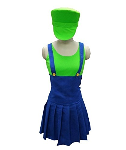 Mario Costume Size Chart (Halloween Party Online Luigi's Plumber Costume, Green Adult (L) HC-032)