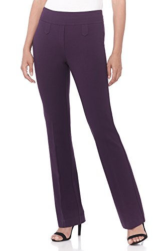 (Rekucci Women's Secret Figure Pull-On Knit Bootcut Pant w/Tummy Control (10,Deep Plum))