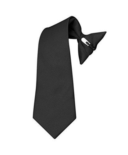 (Boy's Solid Clip on Tie (14 inch, Black))