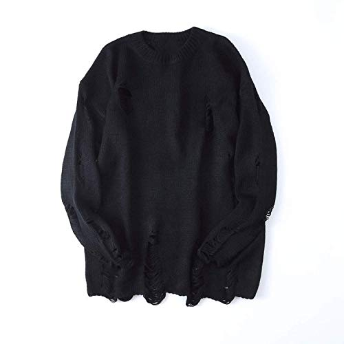 (Yakke Outerwear Ripped Destroyed Holes Distressed Sweaters Mens Knitted Pullover Sweater Loose Sweater,XX-Large,Black)