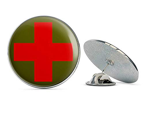 (NYC Jewelers Round Combat Medic Cross Logo (red Cross Army Green) Metal 0.75
